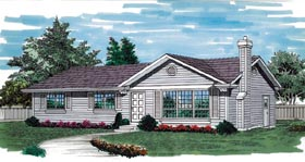 House Plan 55256 | Ranch Style Plan with 1196 Sq Ft, 3 Bedrooms, 2 Bathrooms, 1 Car Garage Elevation