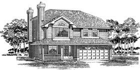 Traditional House Plan 55262 with 3 Beds, 2 Baths, 2 Car Garage Elevation