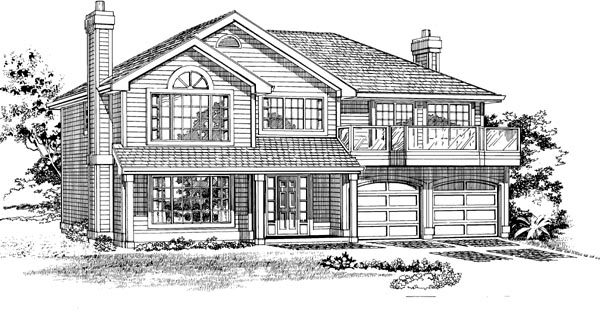 Traditional House Plan 55269 with 3 Beds, 2 Baths, 2 Car Garage Elevation