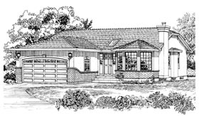 Traditional House Plan 55271 with 3 Beds, 2 Baths, 2 Car Garage Elevation