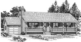 House Plan 55273   Country Style Plan with 1456 Sq Ft, 3 Bedrooms, 2 Bathrooms, 1 Car Garage Elevation