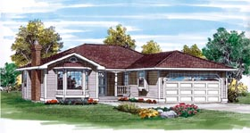 Traditional House Plan 55276 with 3 Beds, 2 Baths, 2 Car Garage Elevation