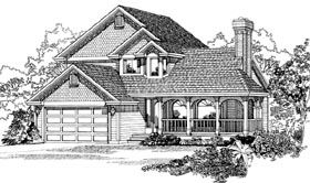 House Plan 55280 | Country Style Plan with 1716 Sq Ft, 3 Bedrooms, 3 Bathrooms, 2 Car Garage Elevation