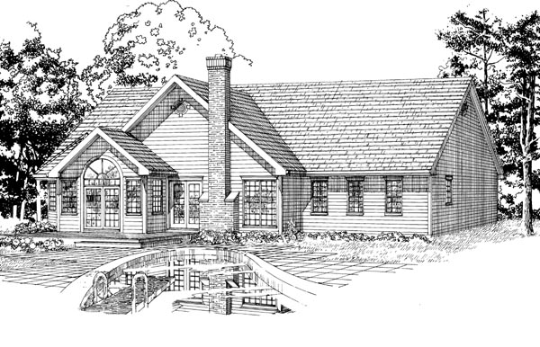 House Plan 55281 Rear Elevation