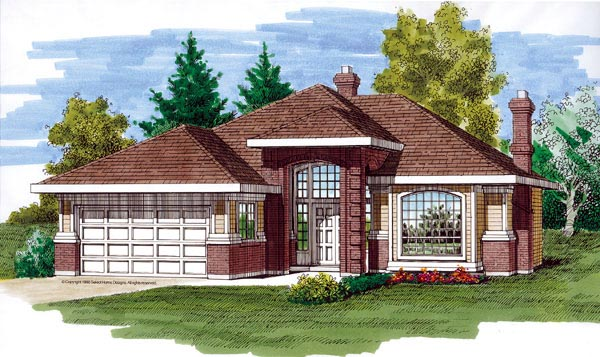 European House Plan 55283 Elevation