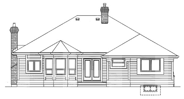 European House Plan 55283 Rear Elevation