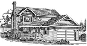 Victorian House Plan 55285 with 3 Beds, 3 Baths, 2 Car Garage Elevation
