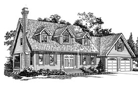 House Plan 55287 | Cape Cod Style Plan with 1827 Sq Ft, 3 Bedrooms, 3 Bathrooms, 2 Car Garage Elevation