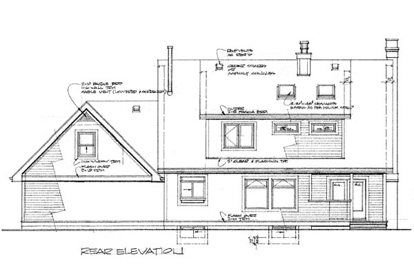 Cape Cod House Plan 55287 Rear Elevation