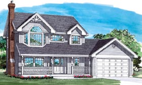 Traditional House Plan 55288 with 3 Beds, 3 Baths, 2 Car Garage Elevation