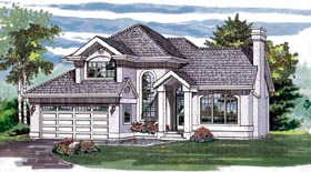European House Plan 55289 Elevation