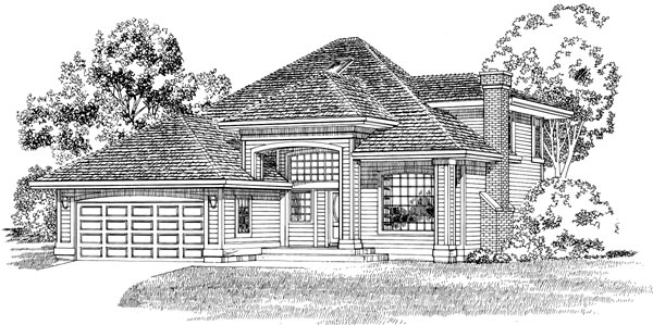 European House Plan 55291 Elevation