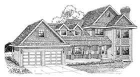 House Plan 55295   Country Style Plan with 2030 Sq Ft, 3 Bedrooms, 3 Bathrooms, 2 Car Garage Elevation