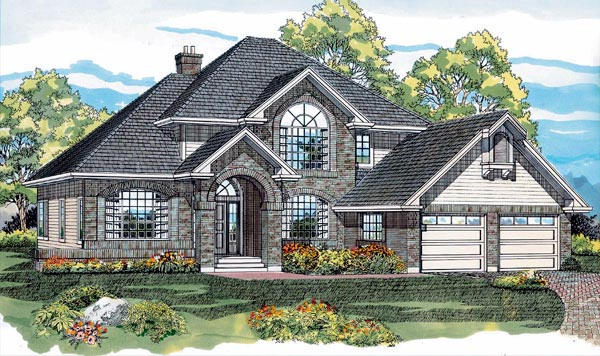 European House Plan 55297 Elevation