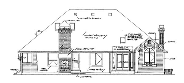 European House Plan 55299 Rear Elevation