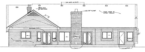 Ranch House Plan 55303 Rear Elevation