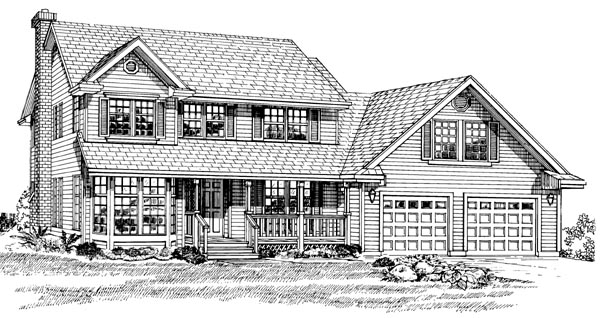 Country House Plan 55305 with 4 Beds, 3 Baths, 2 Car Garage Elevation