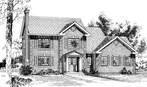 Colonial House Plan 55306 with 3 Beds, 3 Baths, 2 Car Garage Elevation