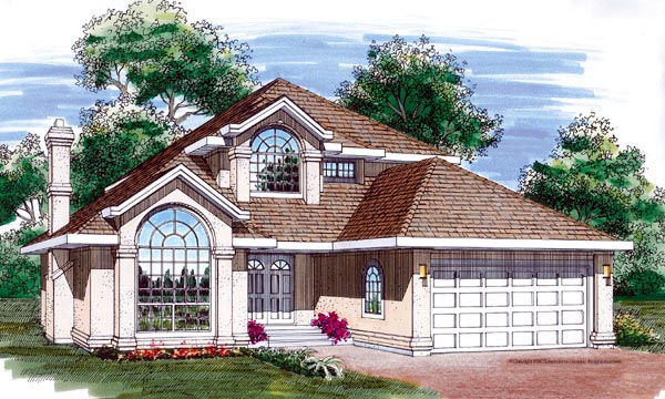European House Plan 55308 with 3 Beds, 3 Baths, 2 Car Garage Elevation