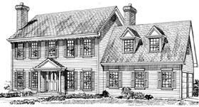 Colonial House Plan 55309 Elevation