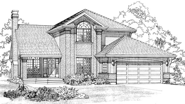 European House Plan 55310 Elevation