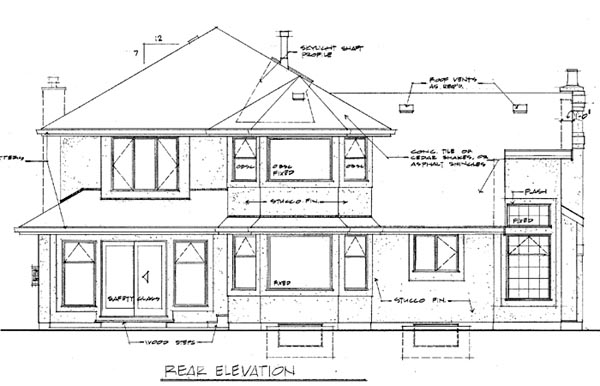 Contemporary House Plan 55311 Rear Elevation