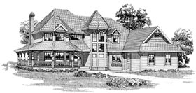 Victorian House Plan 55312 with 4 Beds, 3 Baths, 2 Car Garage Elevation