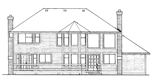 European House Plan 55322 Rear Elevation