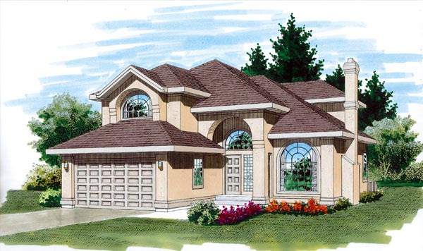 European House Plan 55323 Elevation