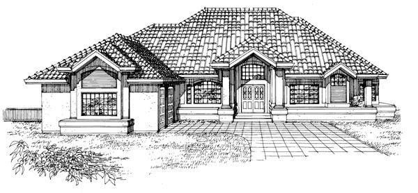 House Plan 55326 | Mediterranean Style Plan with 2761 Sq Ft, 3 Bedrooms, 4 Bathrooms, 3 Car Garage Elevation