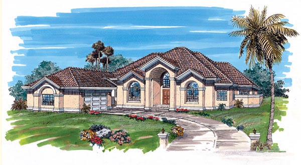 Mediterranean House Plan 55327 Elevation