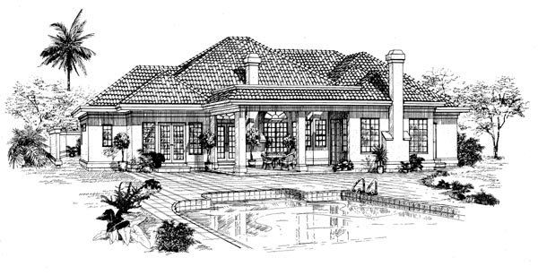 Mediterranean House Plan 55327 Rear Elevation