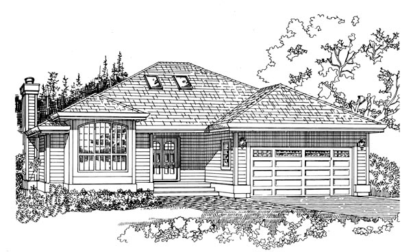 One-Story, Traditional House Plan 55336 with 3 Beds, 2 Baths, 2 Car Garage Elevation