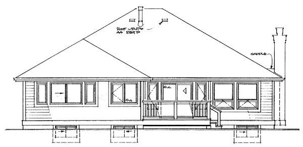 One-Story, Traditional House Plan 55336 with 3 Beds, 2 Baths, 2 Car Garage Rear Elevation