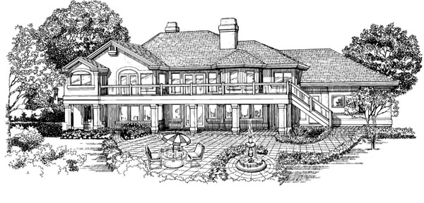 House Plan 55337 | European Style Plan with 2572 Sq Ft, 3 Bedrooms, 3 Bathrooms, 2 Car Garage Rear Elevation
