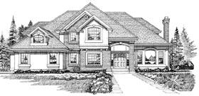European House Plan 55338 with 4 Beds, 5 Baths, 3 Car Garage Elevation