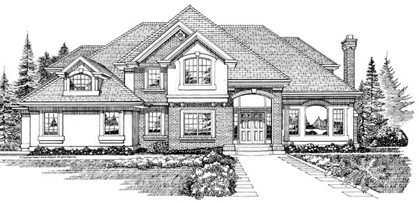 European House Plan 55338 Elevation