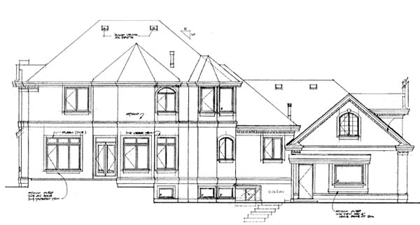 European House Plan 55339 Rear Elevation