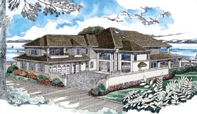 Contemporary House Plan 55340 with 4 Beds, 5 Baths, 3 Car Garage Elevation