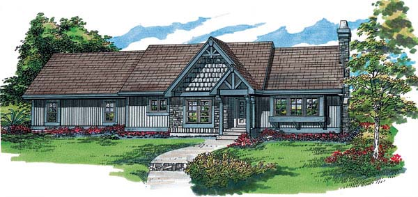 House Plan 55347 | Ranch Style Plan with 1282 Sq Ft, 3 Bedrooms, 2 Bathrooms, 2 Car Garage Elevation