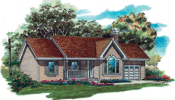 House Plan 55349 | Traditional Style Plan with 1360 Sq Ft, 3 Bedrooms, 2 Bathrooms, 2 Car Garage Elevation