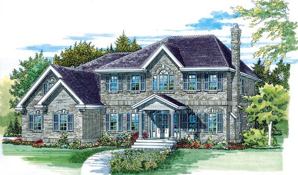 Colonial House Plan 55353 Elevation