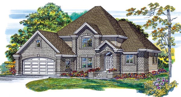 European House Plan 55369 with 4 Beds, 3 Baths, 2 Car Garage Elevation
