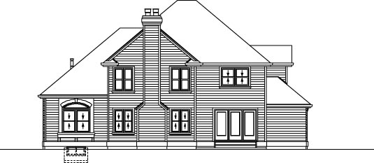 European House Plan 55369 with 4 Beds, 3 Baths, 2 Car Garage Rear Elevation
