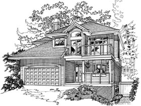 Traditional House Plan 55372 with 3 Beds, 3 Baths, 2 Car Garage Elevation
