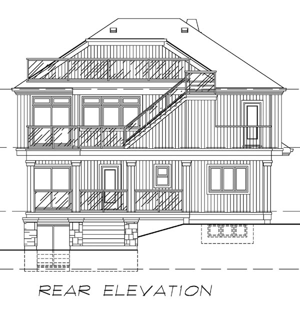 Traditional House Plan 55372 Rear Elevation