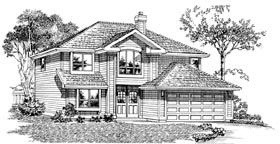 House Plan 55378 | European Style Plan with 1372 Sq Ft, 3 Bedrooms, 2 Bathrooms, 2 Car Garage Elevation