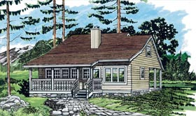 House Plan 55379 | Country Style Plan with 1183 Sq Ft, 3 Bedrooms, 1 Bathrooms, 1 Car Garage Elevation