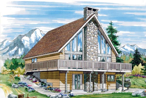 A-Frame Contemporary House Plan 55380 Elevation
