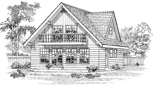 House Plan 55382 Rear Elevation
